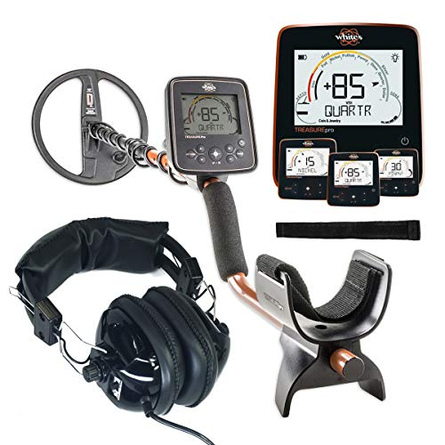 Whites TreasurePro Metal Detector with 10' DD Waterproof Coil and Dual Volume Control Headphones