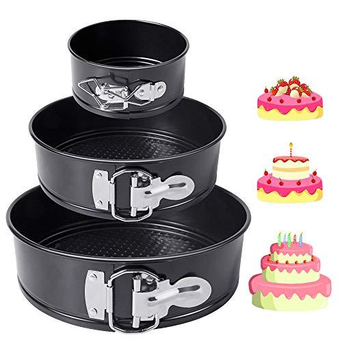 HomeMall Kuchenform Rund Set,Springform Cake Pans mit Flachboden Kuchenformen Auslaufsicher, Antihaftbeschichtet, 3Stück