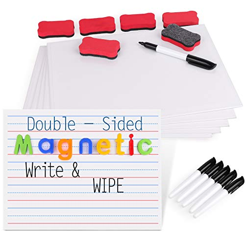 Gamenote Magnetic Small White Board Set - Double Sided Magnet Dry Erase Ruled Lap Boards 9x12 Lined Whiteboard for Kids Student Learning (Pack of 6)