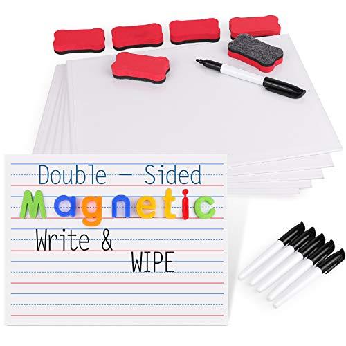 Gamenote Kinder Lernen Tragbare Schreibtafel, Magnettafel Beschreibbar Doppelseitiges Magnetische Whiteboard mit Stift und Radiergummi schwamm (6er Pack), Trocken abwischbar für Schule, 23x30cm