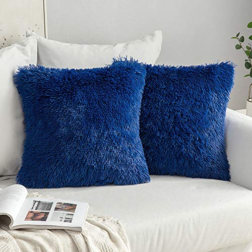 MIULEE Pack of 2 Faux Fur Throw Pillow Cover Fluffy Soft Decorative Square Pillow covers Plush Case Faux Fur Cushion Covers For Livingroom Sofa Bedroom 16'x16' Navy