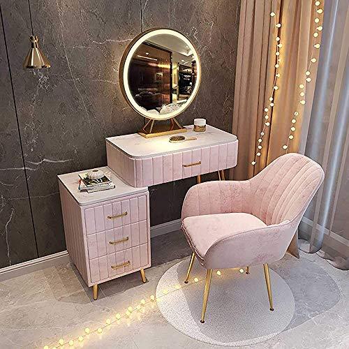 Cama de mesa con luces LED con 2 cajones Mesa de maquillaje de espejo redondo, Vestido Maquillaje Telar Taburete Taburete,Pink