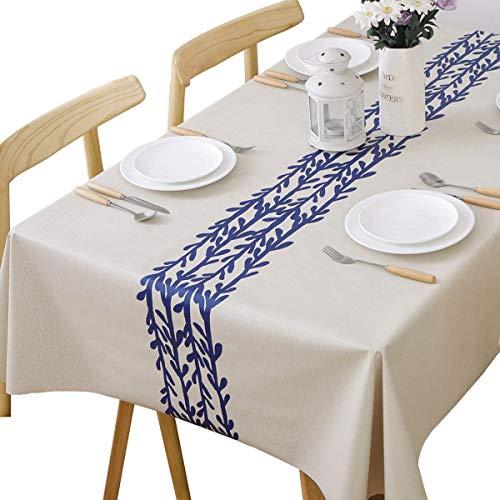 Plenmor Strapazierfähige Vinyl Tischdecke für rechteckige Tische abwischbare PVC-Tischdecke für Esstisch Ölbeständig Wasserdicht Fleckenbeständig Schimmelbeständig