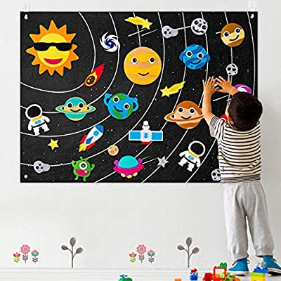 WATINC 35Pcs Outer Space Felt Board Story Set 3.5 Ft Solar System Universe Storytelling Flannel Interactive Play Kit with Hooks Astronaut Planets Alien Galaxy Reusable Wall Hanging Gift for Boys Girls from WATINC