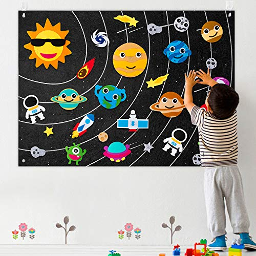 WATINC 35Pcs Outer Space Felt Board Story Set 3.5 Ft Solar System Universe Storytelling Flannel Interactive Play Kit with Hooks Astronaut Planets Alien Galaxy Reusable Wall Hanging Gift for Boys Girls
