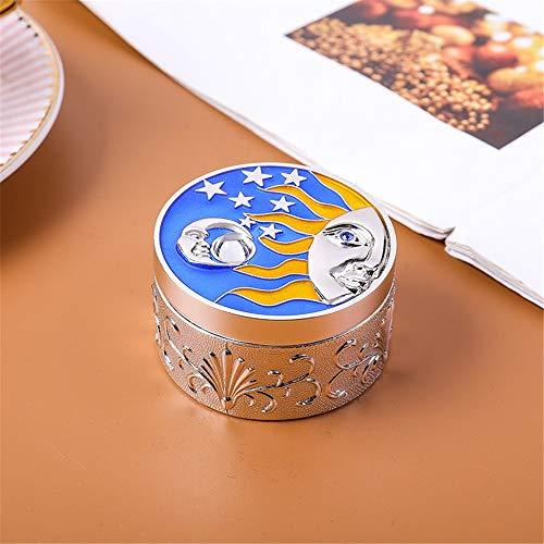 Caja de Joyería Moonlight tesoro de almacenamiento caja joyero princesa de embalaje de regalo caja de metal creativo retro Xingyue sello misterioso para Mujeres ( Color : Silver , Size : 6x3.5x4cm )