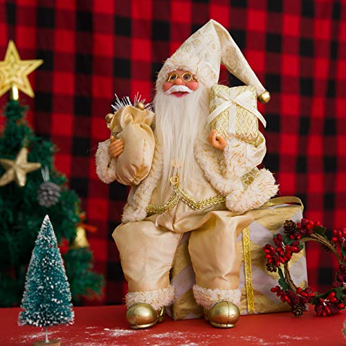 MEWTOGO Christmas Santa Claus Figurine Decoration in Gold Suit- Sitting Santa Claus Doll Toy Hold Gift Bag and Box Xmas Table Figure Decor for Holiday Party Festival Present
