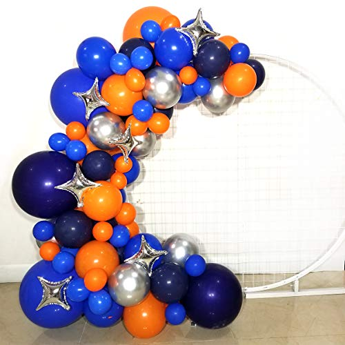 FUNPRT Outer Space Party Balloons Garland - Silver Orange Blue Navy Latex Balloons for Baby Shower Birthday Party Supplies