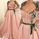 SHGUANMO Pink A-line Straps Green 3D Floral Matte Tulle Elegant Long Prom Dresses Sexy Fashion Evening Dress long party dress (Color : Yellow, US Size : 18W)