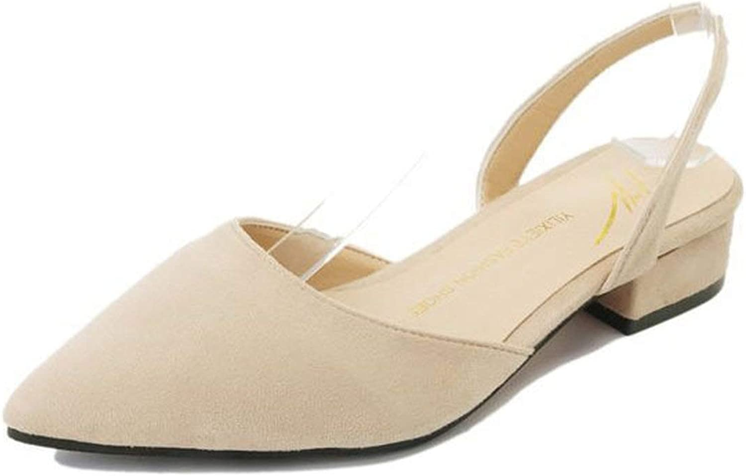 Coolemon Autumn New Pointed Thick with Sandals Suede Low Heel Casual shoes Explosion Student Sandals