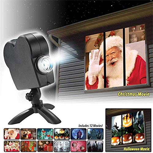 Window Projector 12 Movie Festival Projection Lamp Christmas Halloween Gift Outdoor Garden Decoration