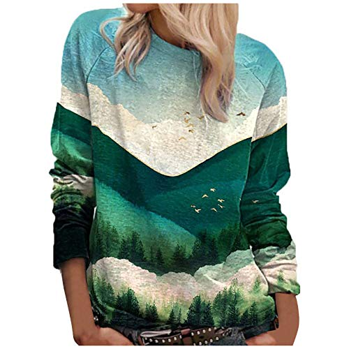 Graphic Sweatshirts for Women Long Sleeve Fall Sky Cloud Lanscape of Mountain Forest Crewneck Sweaters Green