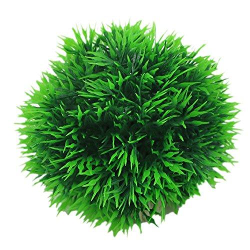 tianxiangjjeu vissen tank planten kunstgras bal plastic keramische basis vast aquarium landschap decoratie, S, Groen