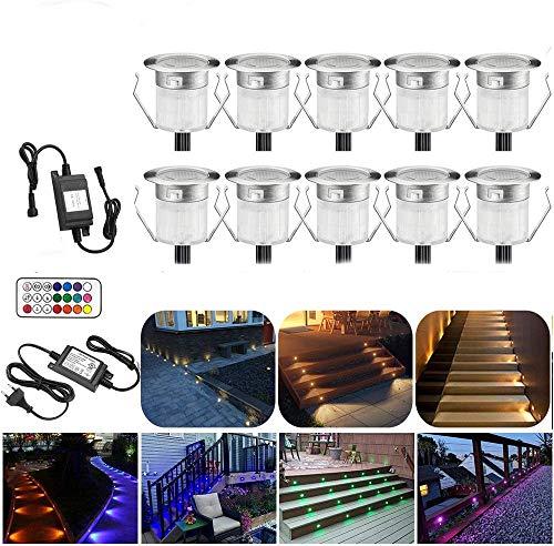 Juego de 10 focos empotrables para suelo RGBWW (4 en 1) de 31 mm de diámetro, LED de 12 V CC, 0,6 W, luz para suelo, IP67,...