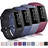 Tobfit 4 Pack Bands Compatible for Fitbit Charge 4 / Fitbit Charge 3 and Charge 3 Se, Silicone Replacement Wristbands for Women Men, Wine Red, Black, Blue, Blue Grey, Large