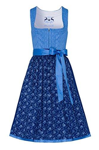 Moser Trachten Baumwolle Midi Dirndl 70er hellblau dunkelblau geblümt Regina 004711 von Moser, Rocklänge: ca. 70 cm, mit Reißverschluss, Größe 36