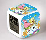 HHIAK666 Bob Esponja 7 Reloj Despertador De Color, Led Quad Reloj, Estudiante Y Los Niños Creativo Regalo De Cambio De Color Reloj Despertador 8Cm 36