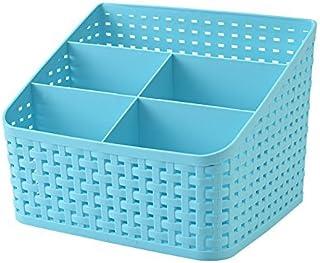 SKYFUN (LABEL) 5 Compartment Plastic Desk Organizer Cosmetics Makeup Kitchen Storage Box Holder Basket-Multi Color