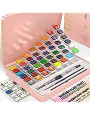 Artistro Aquarelverfset, 48 levendige kleuren in blikken doos, inclusief metalen en fluorescerende kleuren. Aquarelverf Perfect voor volwassenen en kinderen, kunstbenodigdheden voor beginners en professionele kunstenaar