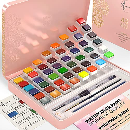Artistro Watercolor Paint Set, 48 Vivid Colors in Tin Box, Including 4 Metallic and 4 Fluorescent Colors. Watercolor Paints Perfect for Adults and Kids, Art Supplies for Beginners and Professional Artist