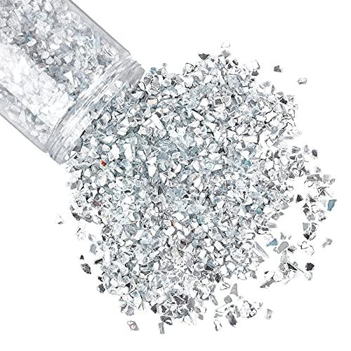 OLTCRAFT 600g Chips de Vidrio para Arte de Resina, Grava para Manualidades, Vidrio Brillante para Manualidades de Uñas Bricolaje, Estuche para Relleno de Jarrones, Joyería, Decoración