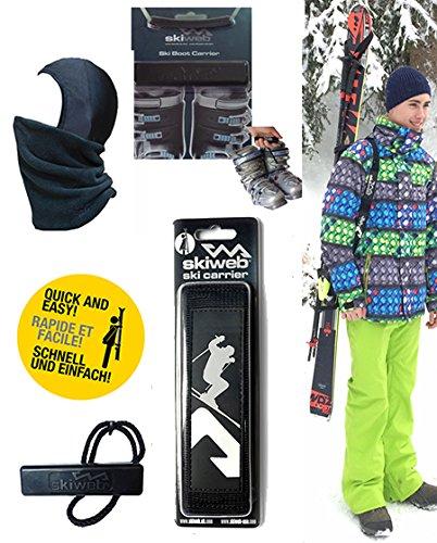 Pack Ski pour des Jeunes - Porte-Skis, Porteur des Bottes de Ski & Cagoule