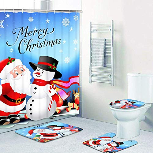 Claswcalor 4 Pcs Merry Christmas Shower Curtain Sets with Non-Slip Rugs, Toilet Lid Cover, Bath Mat and 12 Hooks Santa Snowman Snowflake Reindeer Shower Curtain for Christmas Decoration (Blue, Large)