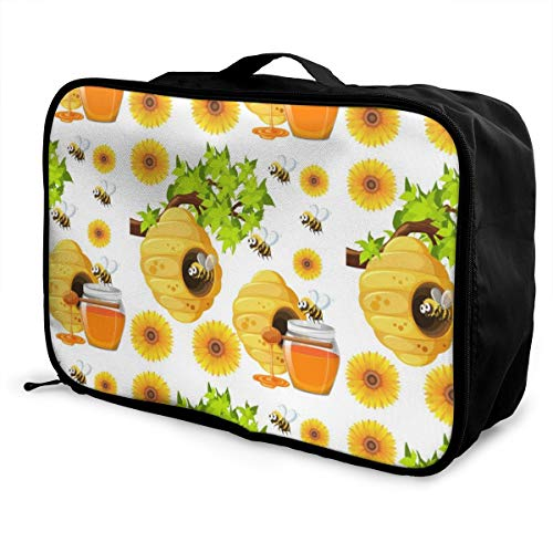 Opvouwbare Cube Reistas Mode Lichtgewicht Grote Capaciteit Draagbare Bagage Tas (Naadloze Achtergrond Met Bijen En Bijenkorven Vector Afbeelding), 15