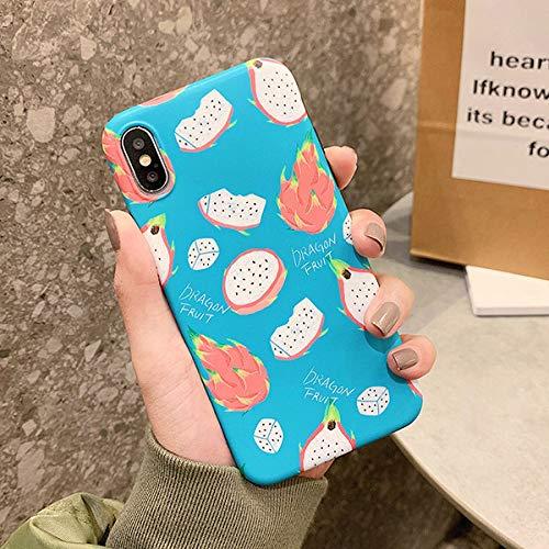 HSXQQL Custodia per Cellulare Custodia per Telefono con Avocado di Kiwi di Frutta Fresca per iPhone XR X XS Max 7 8 Plus Protezione per Tutto Il Corpo Soft Arc Phone Cover Posteriore per Cellular