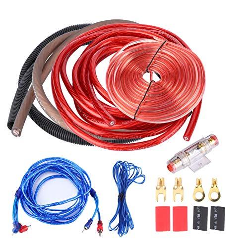 Akozon Kit de cableado de instalación del amplificador 4 calibre 2800W Cables...