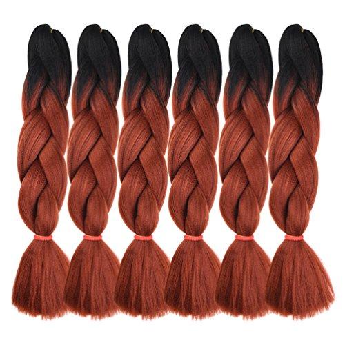6 Packs Ombre Braiding Hair Kanekalon Braiding Hair Extensions 24 inches Black-Red Brown