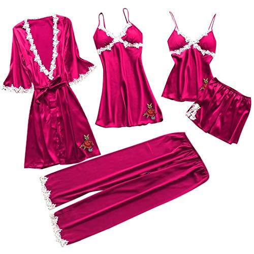 KLFGJ Women 5PC Sexy Lace Lingerie Sets,Printed Nightwear Ladies Underwear Babydoll Sleepwear Exotic Dress(X1-Red,S)