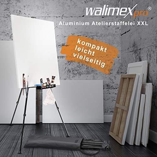 Walimex pro Aluminium Atelierstaffelei XXL 205 cm – Alu Malstaffelei groß stabil leicht, Leinwand bis 150cm, 62 – 205 cm hoch, leicht tragbar nur 1,28 kg, klappbar auf 66 cm, inkl. Tasche