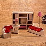HorBous Puppenhausmöbel Set Holz Puppenhaus Kinderzimmer Badezimmer Schlafzimmer Wohnzimmer Küche...