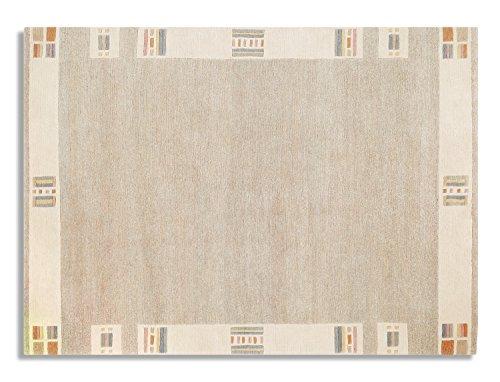 GIZMODO BORDER echter original handgeknüpfter Nepal Teppich in beige-mix, Größe: 90x160 cm