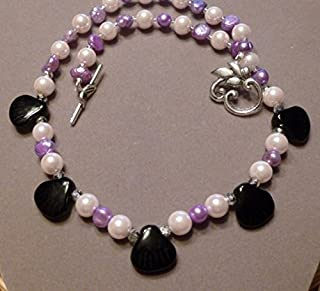 Fresh Water Pearls, Glass Pearls, and Black Onyx Seashell Necklace