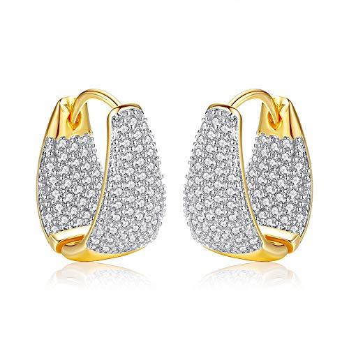 Minions Boutique Pendientes de aro Mujer, chapados en Oro de 18 Quilates, para Boda