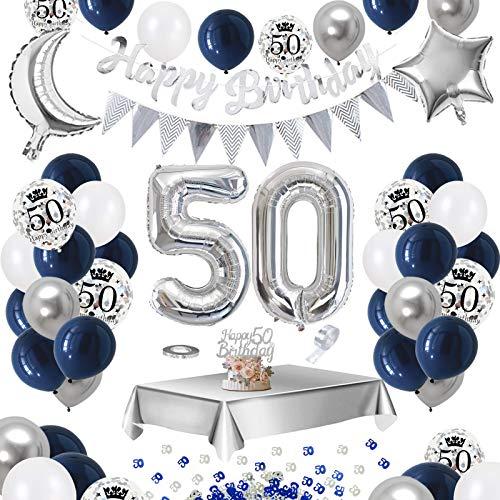 APERIL 50. Geburtstag Dekoration Männer, Bedruckte Silber Konfetti Luftballons Number Folienballon Zahl 50 Luftballons Tischdecke 10g Tischkonfetti Happy Birthday Girlande Banner Torten Deko