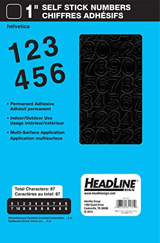 Headline Sign 31131 Stick-On Vinyl Numbers, Black, 1-Inch