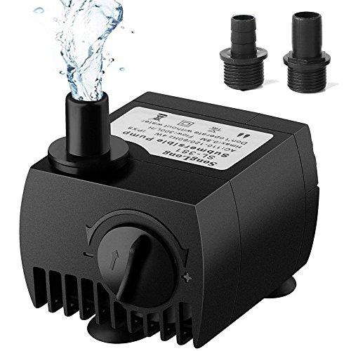 SeeKool Mini Wasserpumpe 300L/H 3W Submersible Pumpe Tauchpumpe Unterwasser für Teiche,Fisch Behälter, Aquarium, Garten, Brunnen, Gartenteich Springbrunnen, Aquariumpumpe(Europäischer Stecker)