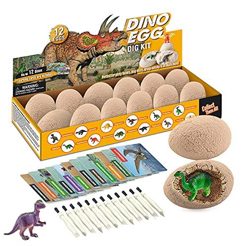 Morkka Kit di Scavo di Uova di Dinosauro 12 Pezzi, Scopri 12 Diversi Dinosauri, Giocattolo Festa di Pasqua STEM Giocattoli Educativi di Apprendimento per 6,7,8,9 Anni Ragazzi Ragazze Bambini Regalo