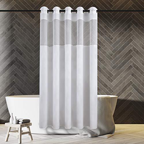 Furlinic Weiß Duschvorhang 180x180cm aus Stoff Wasserdicht Waschbar Anti-schimmel Vorhang mit Gazefenster für Badewanne in Badezimmer mit Groß Ösen.