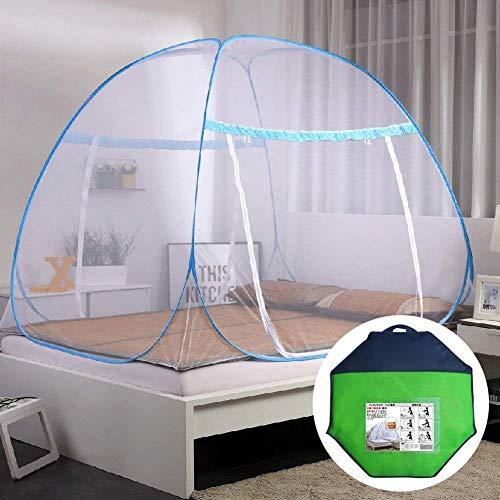 Klamboe Bed Canopy Pop Up Opvouwbaar, Fijn Gaten, met Bottom, Anti Mosquito Bites, eenvoudig te installeren, Storage Bag, Pink, SingleDoor QIANGQIANG (Color : Blue, Size : DoubleDoor)
