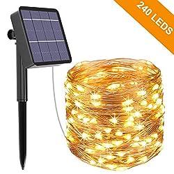 Solar Lichterkette Aussen, Kolpop 24M 240 LED Außen Wasserdicht Kupferdraht Lichterketten für Weihnachten Partys Garten Hochzeiten Dekoration, Warmweiß