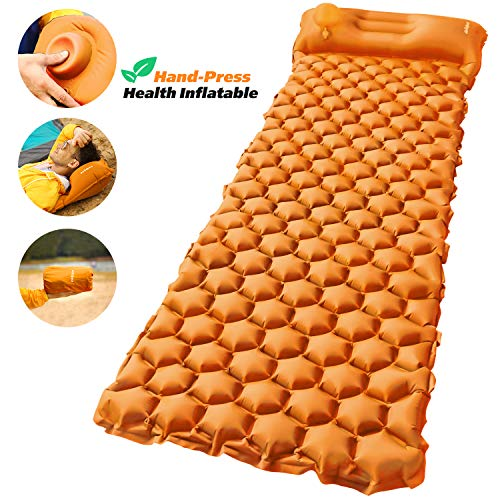 AirExpect Camping Sleeping Pad with Built-in Pump Upgraded Inflatable Camping Mat with Pillow for...