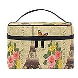 Bolsa de cosméticos de viaje, Torre Eiffel romántica París, bolsa de maquillaje, bolsa de tren, bolsa de viaje portátil con cremallera, organizador grande para niñas y mujeres