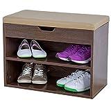 Albatros Mueble para Zapatos Vito, Nogal, 60 cm, Asiento con cojín, Acolchado