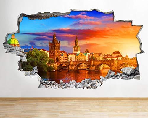 Wandtattoo Stadt Geb?ude Br¨¹cke Prag zerschlagen Wandtattoo 3D Kunst Aufkleber Vinyl Zimmer Kinder Schlafzimmer Baby Kinderzimmer Poster Wohnzimmer Jungen M?dchen Loch