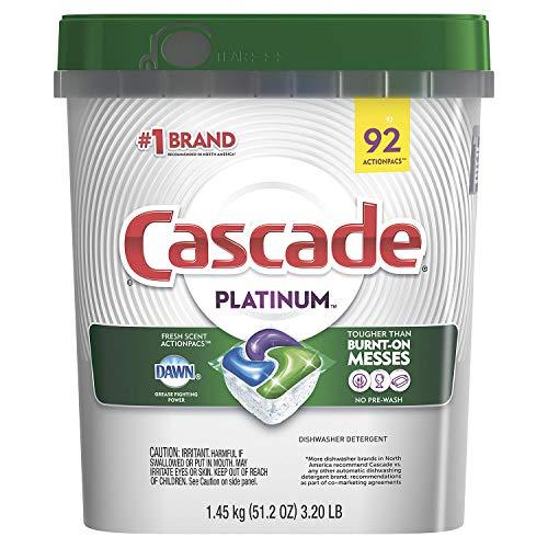 Cascade Platinum Dishwasher Detergent, 16x Strength With Dawn Grease Fighting Power, Fresh Scent (92...