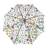 LIANGFF Petal paraguas automático de tres pliegues paraguas portátil paraguas paraguas para uso diario viaje paraguas, Impresión interior., Taille unique
